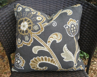 """Pillow Cover--18"""" Woven Floral Linen Fabric Charcoal Gray, Golden Brown and Ivory"""