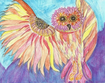 Fantasy Owl Original Drawing Study Watercolor Pencil