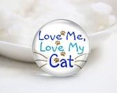 Handmade Round Photo Glass Cabochon-Cat (P1555)