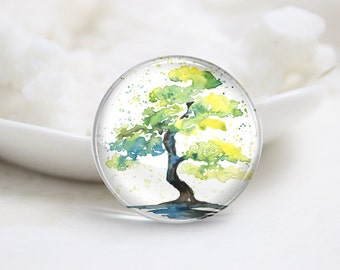 10mm 12mm 14mm 16mm 18mm 20mm 25mm 30mm Handmade Round Photo Glass Cabochons Cover-Tree (P1255)