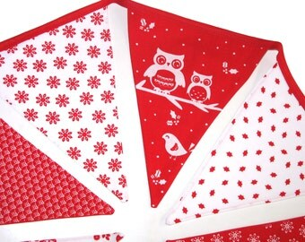 Christmas Bunting - Red Owl Nordic Scandi Style Flag - Xmas Decor hanging, Party Decoration, Parties Banner