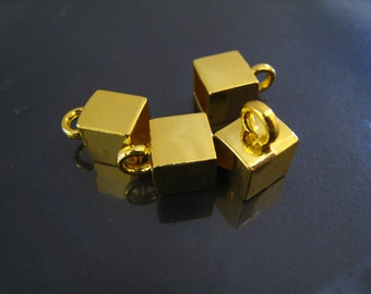 Finding - 4 pcs Gold or Silver Square Leather Cord Ends Cap with Large Loop 10mm x 15mm