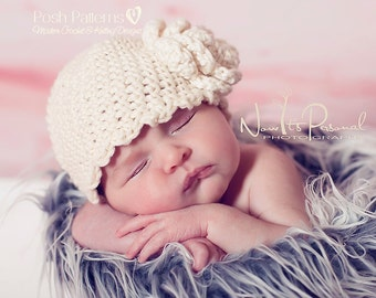 Crochet PATTERN - Scalloped Edge Beanie - Crochet Hat Pattern - PDF 143 - Includes 6 Sizes Newborn to Adult