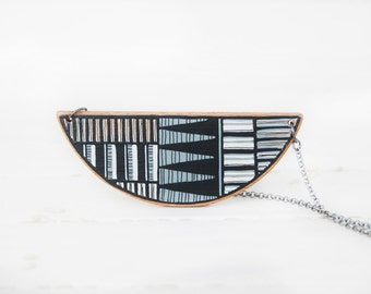 Black and White Geometric Necklace   Statement Wood  Necklace Wooden  Mountain Necklace Made to Order