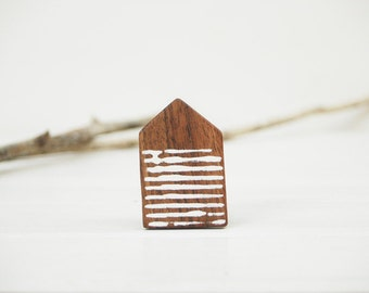 Wooden House Brooch Miniature House PinTiny House Wooden Minimal Jewelry Brown White Stripped Eco Freindly Jewelry Made to Order