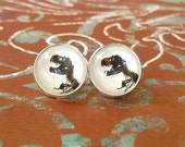 20% OFF -- Black and White T.Rex dinosaur Fossil bone Stud earrings,Perfect gift idea (white)