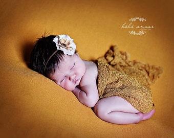 Stretch wrap - 'SAFFRON' newborn stretch wrap  / scarf - prop blanket - knitbysarah - Stitches by Sarah