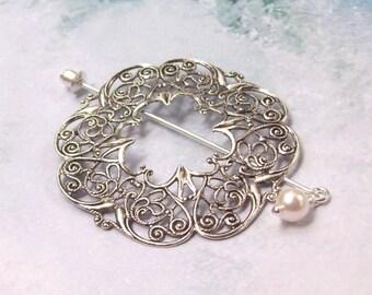 Victorian Shawl Pin, Silver Lapel Pin, Hat Pin, silver shawl pin, stick pin, scarf pin, fashion, filigree, swarovski pearl