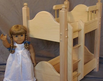 Doll Bunk Bed Unfinished Handmade fits American Girl Doll and 18 Inch Dolls