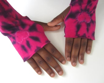 Wrist Warmers, Tie Dyed Fuschia Pink and Black