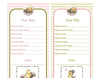 baby advice cards baby shower advice cards classic pooh bear pooh bear