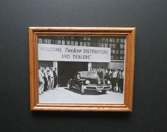 Vintage Framed Photograph - Tucker Automobile - 1948 - Collectible - Art - Print - Old Cars - Chicago Illinois -Wall Hanging