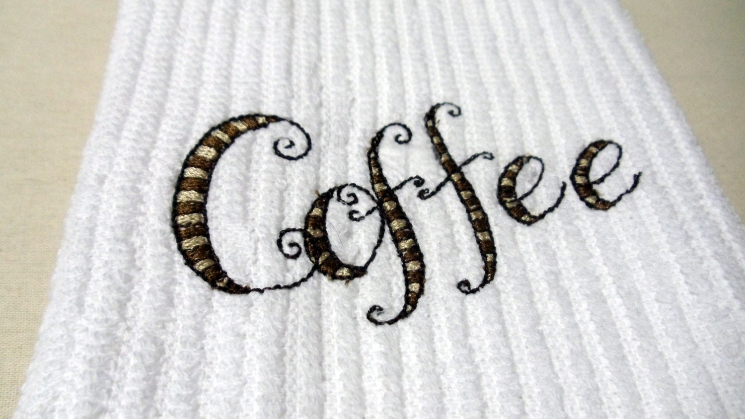 Kitchen Dish Towel Embroidery Coffee Design
