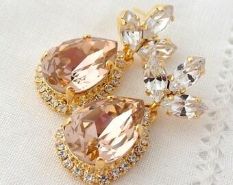 Blush chandelier earring,Blush pink chandelier earring,Blush pink bridal earring,Dangle earrins,Blush bridesmaid earrings,Drop earrings