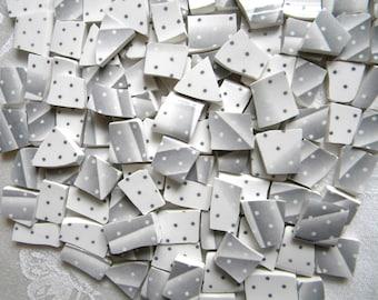 MOSAIC China Tiles - GRAY Stripes and Polka Dots - English Churchill Plates - 100 Tiles