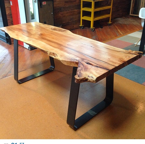 Reclaimed Live Edge Maple Coffee Table Bench Industrial: Live Edge Maple Slab Work Table