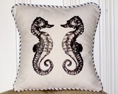 "shabby chic, feed sack, french country, vintage sea horse pair graphic with french ticking welting 14"" x 14"" pillow sham."