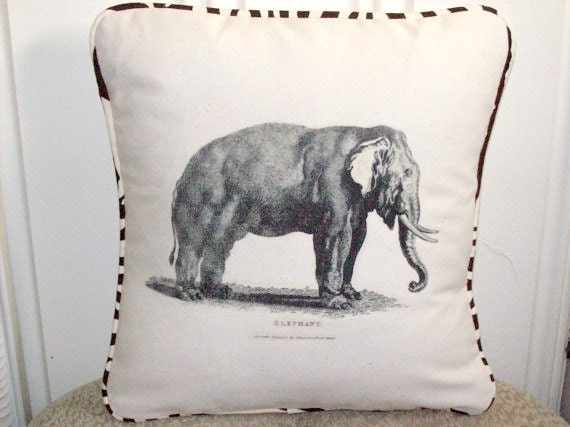 "shabby chic, feed sack, french country, vintage elephant with zebra print  welting 14"" x 14"" pillow sham."