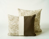 Pillow Cover Set - Organic Screen Printed Pillow Covers - Mushroom Brown