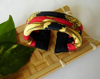 Fabric Bracelet - Black, Red and Gold Cuff