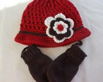 Girls Hat and Mittens, Girls Hat, Baby Girl, Set, Girls Baby Hat, Mittens, Thumbless Mittens, Mittens on string,  Newborn/24 Months