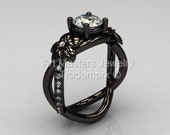 Designer Classic 14K Black Gold 1.0 CT White Sapphire Diamond  Leaf and Vine Wedding Ring, Engagement Ring R180-14KBGDWS