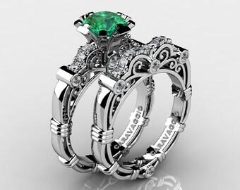 Art Masters Caravaggio 14K White Gold 1.0 Ct Emerald Diamond Engagement Ring Wedding Band Set R623S-14KWGDEM