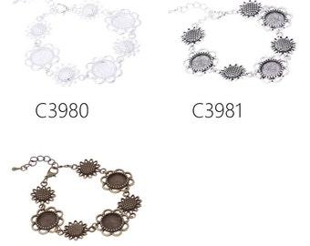 5PCS new design fit 12mm round cabochons bracelet with 3pcs 12mm bezels, bracelet bezels
