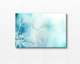 dandelion photography canvas print dandelion wall art canvas 24x36 fine art photography nature canvas gallery wrap dandelion pastel blue