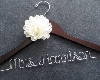 Wedding Dress Hanger with IVORY Flower - Bride Hanger - Personalized Name Hanger - Last Name Hanger - Bride Hangar - Wire Wedding Hanger