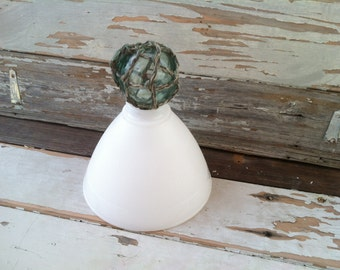 Antique White Milkglass Lamp Shade in a Waffle Pressed Pattern - Retro Kitchen + Bath Light Fixtures, White Milkglass, French Lighting