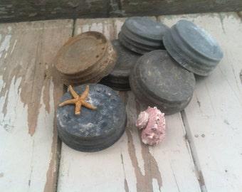 Antique Zinc Lid Collection - Vintage DIY Supply, Crafting Supplies, DIY Canning, 6 Zinc Canning Lids, Fruit Jar Lids, Prim Decor + Canning