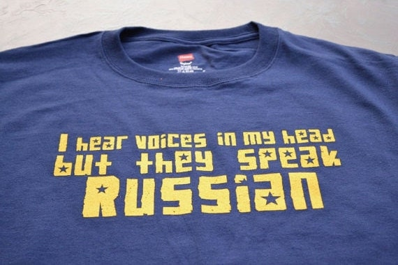 Funny Russian T shirt I hear Russian voices womens mens youth kids tshirt navy blue USSR Soviet Cccp humor tee gift son father son brother