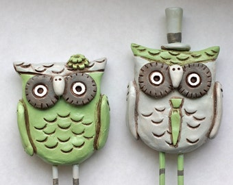 Moss Green and Grey Owls wedding cake topper