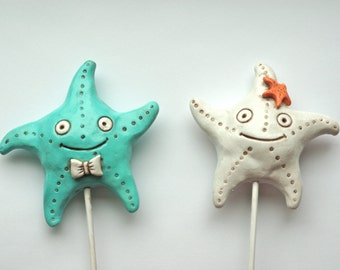 Pastel Aqua and White Starfish In Love wedding cake topper for your beach wedding