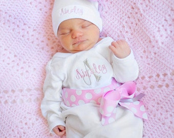Personalized Girls Take Home Outfit, Hospital Beanie Hat, Name Hat,  Baby Name Gown, Layette Gown, Coming Home Outfit for Girls, pink grey