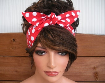Fabric Headband Womens Dolly Bow Pin Up Retro Fashion Accessories Women Hair Fashion Women Headband in Red with White polka dots