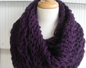 Womens Scarf Hand Knitted Scarf Cowl Winter Fashion Accessories Women Infinity Scarf in Dark purple by creationsbyellyn