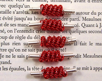 Wire focal beads, red silver 5 feature beads for jewellery making handmade unusual beads