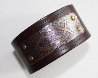 Christian Fish Symbol leather bracelet  - mens leather cuff