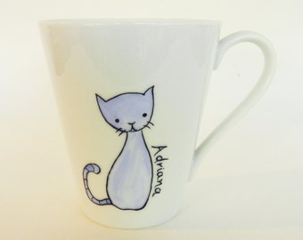 Cute blue cat, hand painted personalized porcelain cup mug for pet lover for her gift for girl