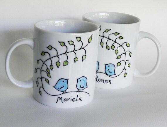 Lovebirds mug, Custom hand painted mug wedding gift anniversary gift for couples gay wedding gift