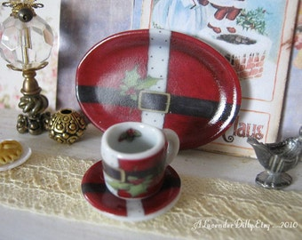 Santa's Jacket Mug and Plate for Dollhouse