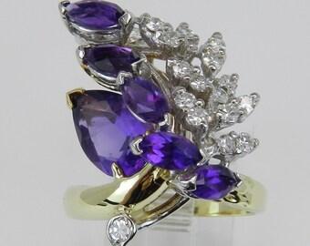 Vintage Ring Estate Ring Diamond and Purple Amethyst Ring Fashion Ring 18K Yellow White Gold Size 7.25