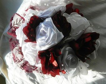 Wedding Bouquet in Fabric, Burgandy Red and White, Keepsake Bridal Bouquet