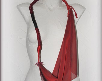Art red textile Necklace, fiber jewelry, contemporary, gift for her