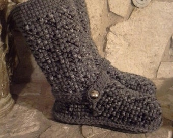 "Cute ""Shades of Grey"" Tweedy Crochet Sweater Boots size Small(5-6.5) ""4in1"" style: Slouchy, Ankle Boots, Cuffed, Straight"