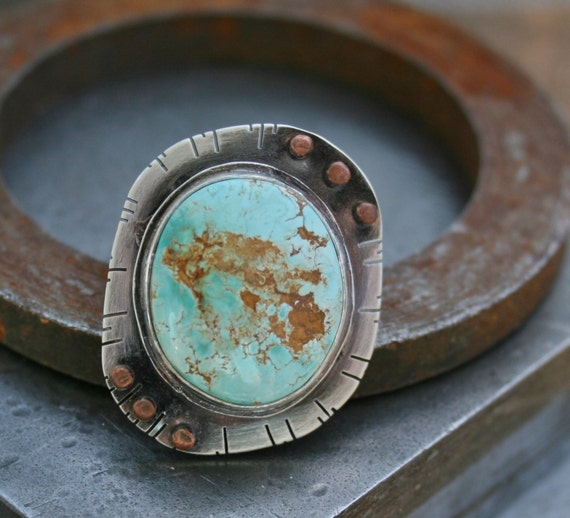 Royston Turquoise and Copper Rivet Oval Ring