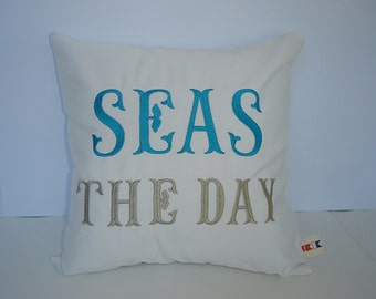 """SEAS THE DAY custom embroidered pillow cover 14"""" x 14"""" Sunbrella natural indoor outdoor beach ocean Oba Canvas Co copyrighted design"""