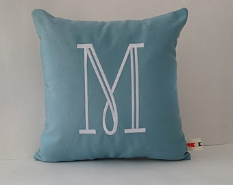 MONOGRAMMED INITIAL pillow cover Sunbrella indoor outdoor decorative throw embroidered letter personalized housewarming gift oba canvas co.